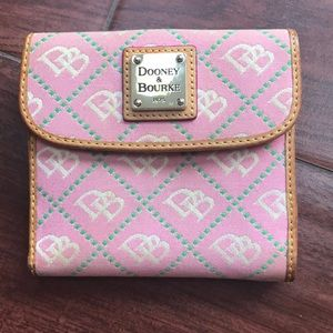 Vintage dooney & Bourke pink logo wallet canvas